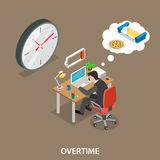 Overtime isometric flat vector illustration Stock Image