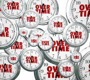 Overtime Word Clocks Flying By Extra Added Late Work Job Royalty Free Stock Photo