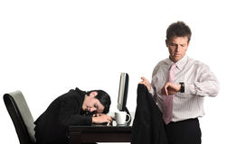 Overtime workers in the office Royalty Free Stock Images