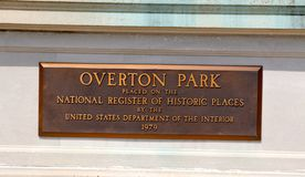 Overton Park Plaque, Memphis Tennessee. Overton Park is a large, 342-acre (1.38 km2) public park in Midtown Memphis, Tennessee. The park grounds contain the Royalty Free Stock Photos