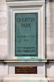 Overton Park Plaque, Memphis Tennessee Royalty Free Stock Photography