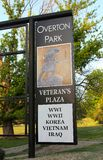 Overton Park Veteran's Plaza Entrance Sign Stock Image