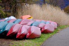 Overturn boats with natural background. At Kawaguchiko lake, Japan Stock Images
