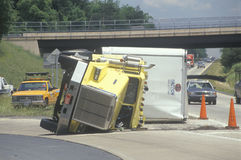 Overturned big rig on Route 66 Stock Image