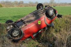 Overturned car Royalty Free Stock Images