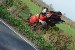 Overturned car Royalty Free Stock Photos