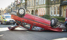 Overturned Car Crash in Street Royalty Free Stock Photo