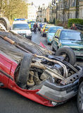 Overturned Car Crash in Street Royalty Free Stock Images