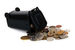 Overturned garbage bin with old european coins Stock Photo