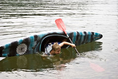 Overturned Kayak Stock Photography