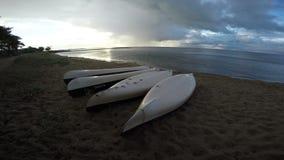 Overturned kayaks in Curonian Lagoon, 4K stock video