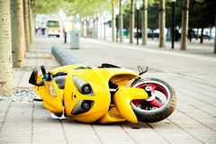 Overturned motorcycle Royalty Free Stock Photography