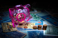 Overturned piggy bank Royalty Free Stock Photos