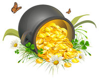 Overturned pot of gold coins. Cauldron of gold Stock Photo