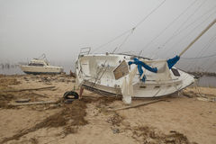 Overturned sailboat in wake of Hurricane Ivan Stock Images