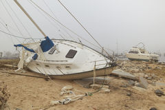 Overturned sailboat in wake of Hurricane Ivan Stock Photography