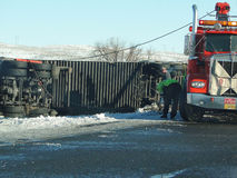 Overturned semi truck Royalty Free Stock Photography