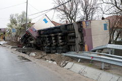 Overturned truck royalty free stock image