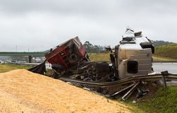 Overturned Truck Stock Images