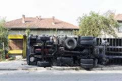 Overturned truck Royalty Free Stock Photography