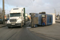 Overturned truck Stock Photography