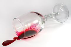Overturned wineglass Stock Photo