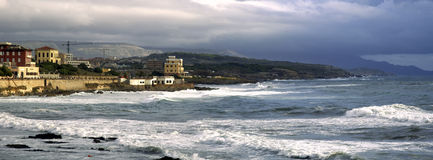 Overview. Of Alghero before a storm Stock Images