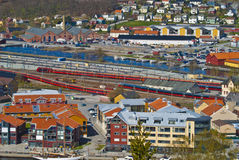 Overview. Of parts of halden city, with Tista river, railway station, hotels, parking lots, homes and commercial buildings. picture is shot from the top of royalty free stock image