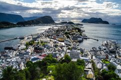 Overview of Alesund town from the Aksla viewpoint during the late evening before sunset royalty free stock photo