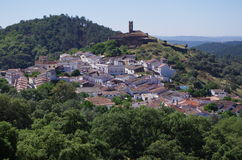 Overview of Almonaster village. In Huelva. Andalucia, Spain royalty free stock photography