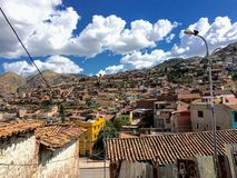 Overview of the ancient city of cusco in Peru stock photography