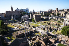 Overview of  the Ancient Forum in Rome Italy. Rome Italy, the Eternal city, which has been a destination for tourists since the times of the Roman Emperors. The Royalty Free Stock Photo