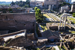 Overview of  the Ancient Forum in Rome Italy. Rome Italy, the Eternal city, which has been a destination for tourists since the times of the Roman Emperors. The Royalty Free Stock Images