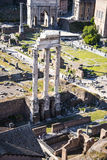 Overview of  the Ancient Forum in Rome Italy. Rome Italy, the Eternal city, which has been a destination for tourists since the times of the Roman Emperors. The Stock Images