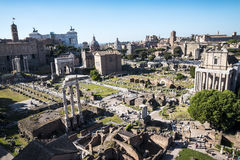 Overview of  the Ancient Forum in Rome Italy. Rome Italy, the Eternal city, which has been a destination for tourists since the times of the Roman Emperors. The Royalty Free Stock Photography