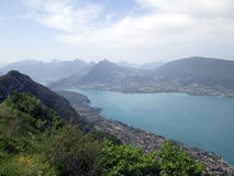 Overview of Annecy lake in France Stock Photos