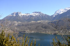 Overview of Annecy lake, Savoy, France Royalty Free Stock Photos