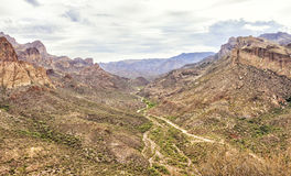 Overview of Apache trail scenic drive, Arizona. Overview of Apache trail scenic drive in the early summer morning mist. Picture was taken on 4th August, 2015 stock photos