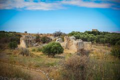 Overview of Aptera ruins with blue sky background royalty free stock photography