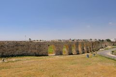 Overview of Arches at aqueduct of Kamares, Larnaca, Cyprus royalty free stock photography