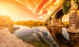 Free Overview At Sunset Of The Ancient Bridge Of Orosei On The River Cedrino, Sardinia Royalty Free Stock Images - 122287459