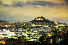 Overview of Athens in the night royalty free stock image