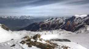 Overview of Austrian ski resort in the Alps. Of Austria Royalty Free Stock Image