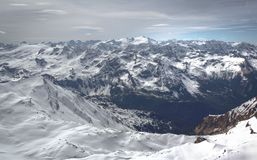 Overview of Austrian ski resort in the Alps. Of Austria Stock Photography