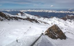 Overview of Austrian ski resort in the Alps. Of Austria Royalty Free Stock Images