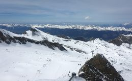 Overview of Austrian ski resort in the Alps. Of Austria Royalty Free Stock Photography