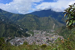 Overview of Baños, Ecuador. Panoramic view of the town of Baños, in Ecuador stock images