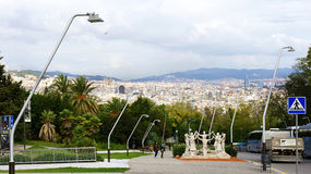 Overview of Barcelona with monument to the Sardana Royalty Free Stock Photography
