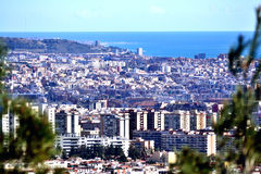 Overview of Barcelona. View of Barcelona from Collserola mountain. In the background the sea Stock Images