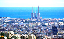 Overview of Barcelona. View of Barcelona from Collserola mountain. In the background the sea Stock Photos
